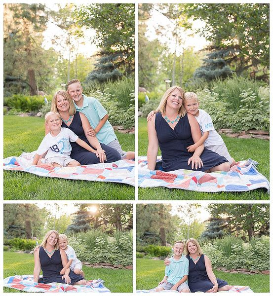 Centennial Colorado Extended Family Session, Mother and sons pose on a quilt during the Golden Hour.