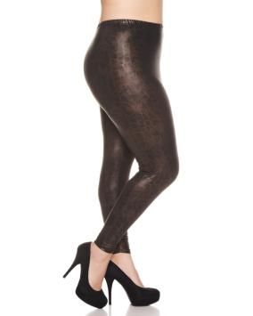 Plus Size Metallic Snakeskin Print Leggings | Penningtons