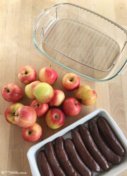 Préparation de la recette du boudin aux pommes cuisson vapeur