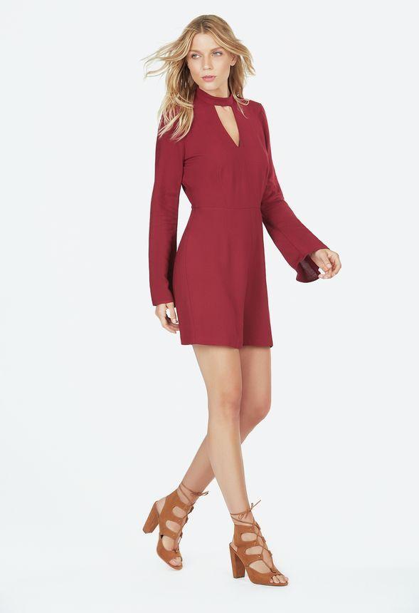 Bell Sleeve Romper Kleidung in Wine - günstig kaufen bei JustFab