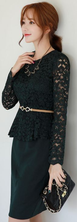 StyleOnme_Floral Lace Peplum Dress #green #floral #lace #feminine #dress #koreanfashion #kstyle #kfashion #seoul #falltrend
