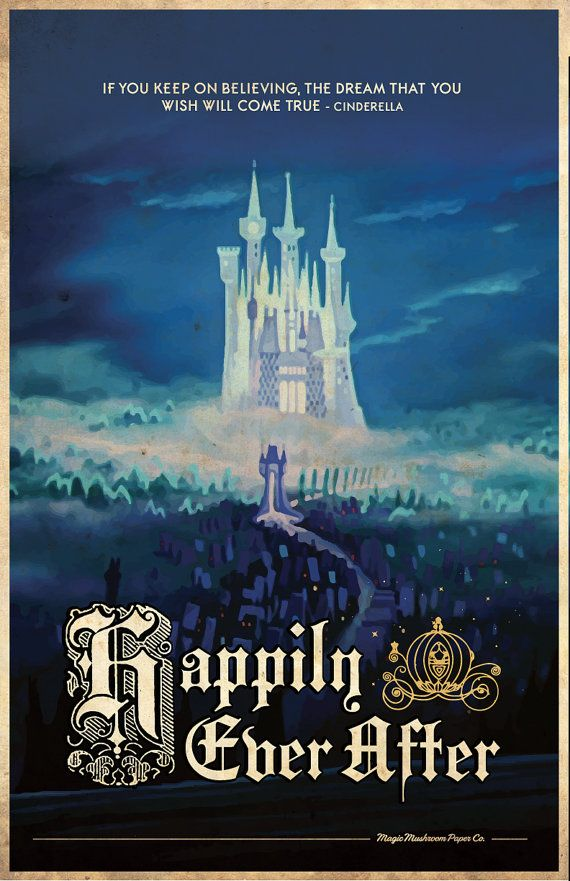 CINDERELLA Happily Ever After Travel Poster Vintage by MMPaperCo