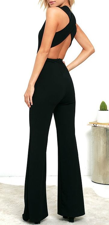 Your admirers will have a lot to say about their love for you in the Thinking Out Loud Black Backless Jumpsuit! Medium-weight knit is formed to a sleeveless bodice, with V-neck, darting, and wide straps that cross over the open back. Bit of elastic at the waist tops the wide-leg pants. #lovelulus