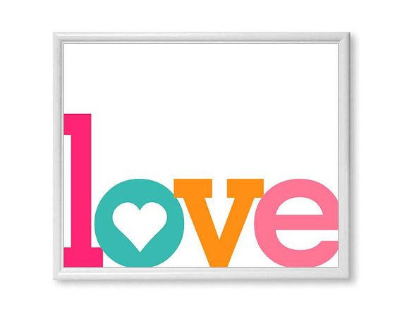Love Word Art Print ANY COLOR Single By PaperPlanePrints