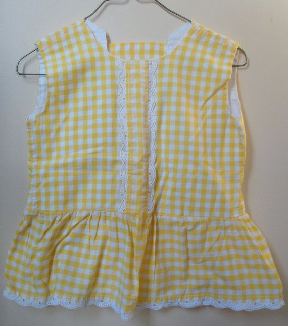 Yellow and White Checked Pinafore by heydarlin on Etsy, $18.00