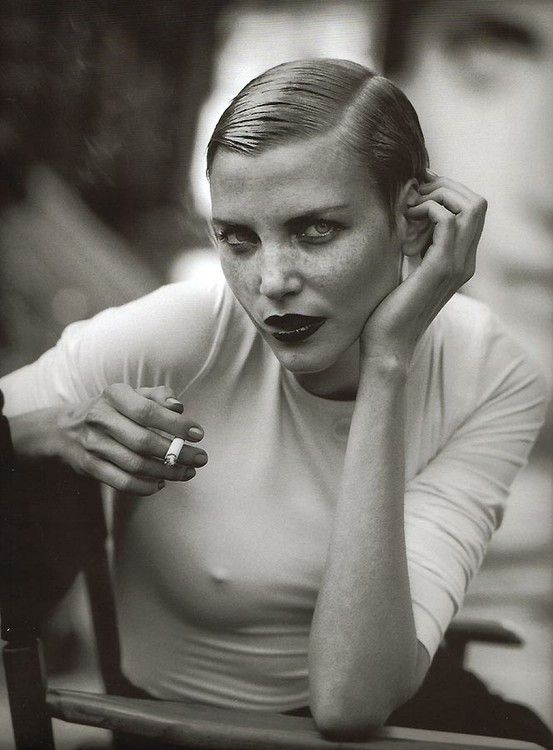 Nadja Auermann by Peter Lindbergh - love this version of sexy tom boy. it's slicked back and clean, but obviously very feminine.