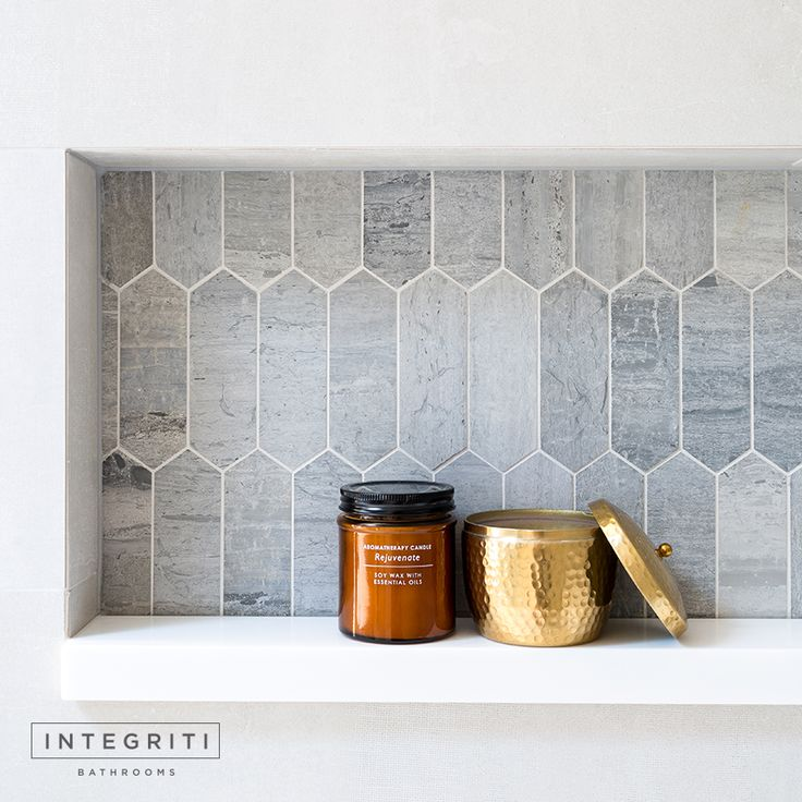 Here's a peak at the recessed shelf from yesterday's WIP. The detailing on these tiles really gives the bathroom some elegance and character. Wait until you see the full wall! . #integritibathrooms #custommade #sydneybathroom #interiordesign #bathroom
