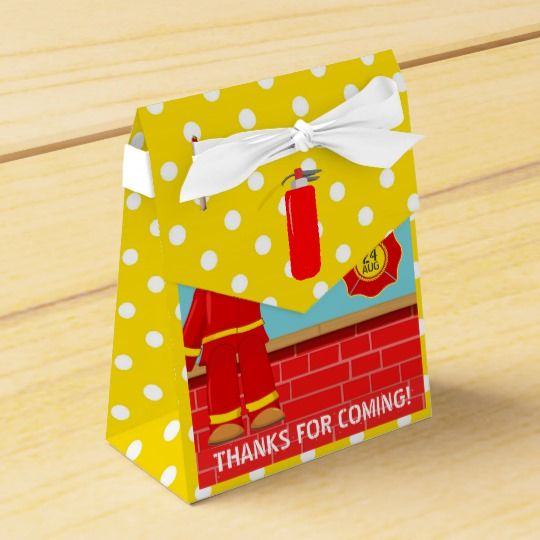 Firefighter themed Birthday Party Guest Favor Favor Box
