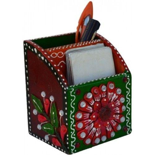 eCraftIndia ESR008 1 Compartments Papier-Mache Pen Stand (Green, Pink)