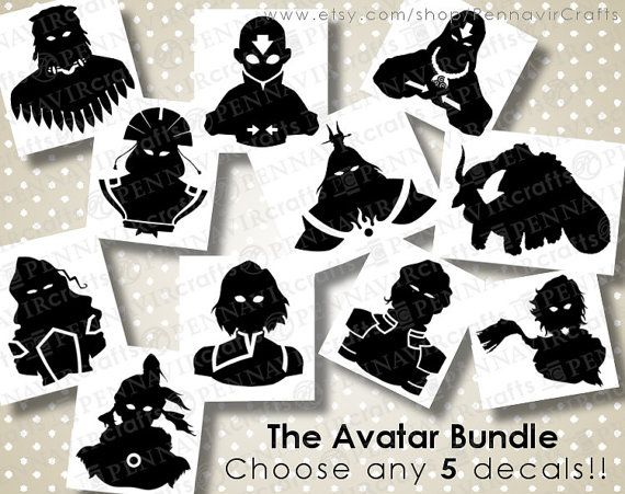 CHOOSE ANY 5! - Avatar the Last Airbender decal bundle, available in many sizes and colors!  Macbook size available. www.PennavirCrafts.com