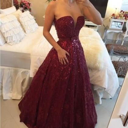 2015 Beading Lace Prom Dres..