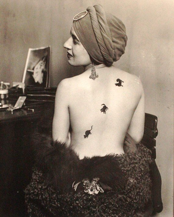 Dog chases Cat chases Mouse Tattoo  11 X 14 Anonymous Man Ray style Photograph Crow Creek Unique on Etsy: Cat, Nude, Man Ray, Tattoos, Mouse Tattoo, Tattoo'S, 1920S, Dog, Photo