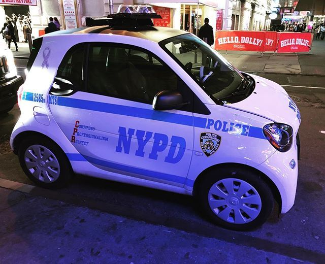 #nypdfinest are now downsizing. They are seeking smaller recruits to drive their new cars. Top speed is around 30 mph.