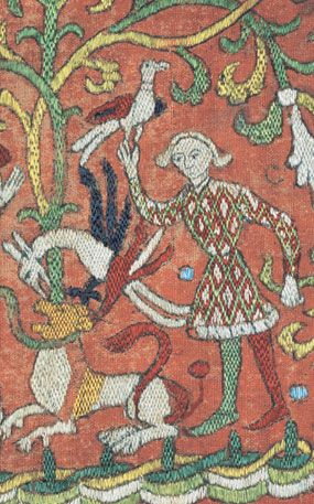 SILK EMBROIDERED LINEN PANEL  German (Lower Saxony), mid-15th century  Antique Textiles - Cora Ginsburg