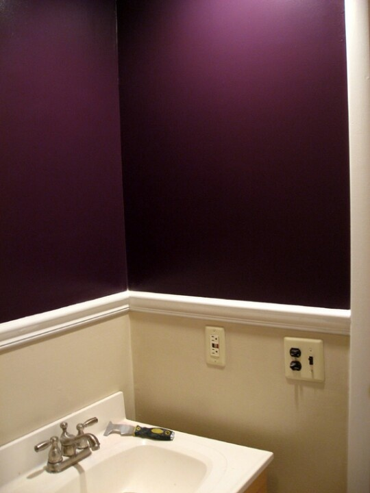 Purple bathroom. With moulding around the middle and dark purple on top or bottom