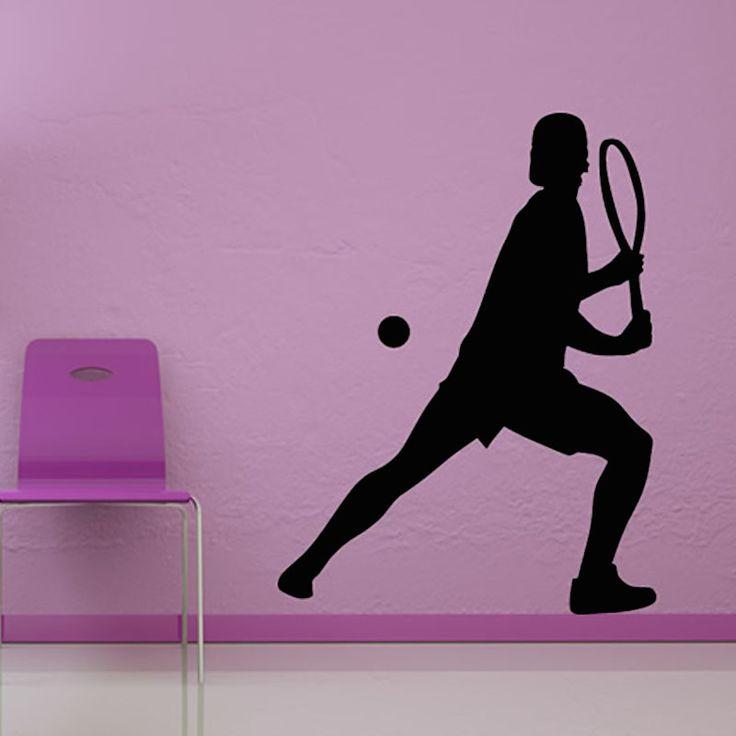 vinyl kunst aan de muur sticker home decor het spelen van tennis waterdichte zelfklevende muursticker voor de woonkamer(China (Mainland))