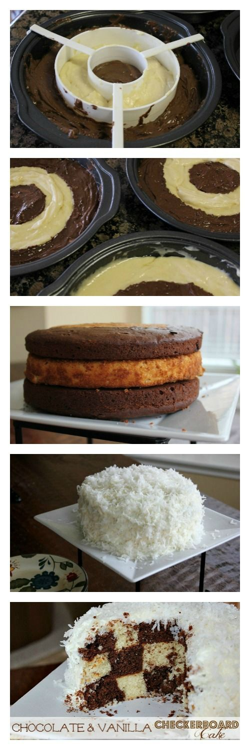 Chocolate & Vanilla Checkerboard Cake Recipe | The Happy Housewife