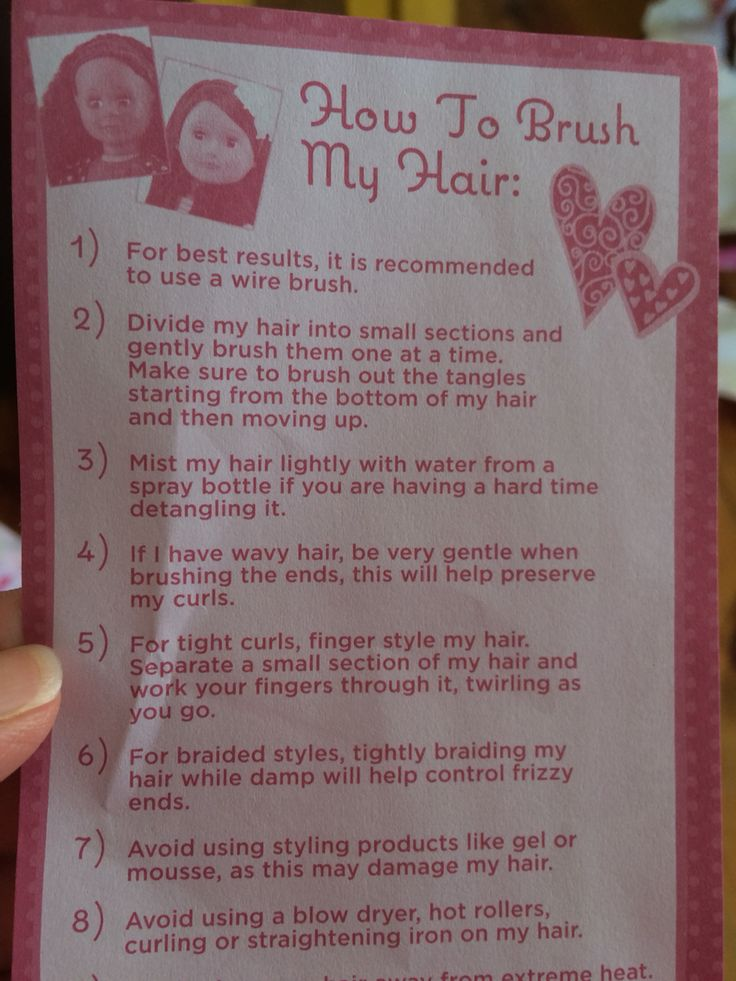 Instructions on caring for our generation doll hair