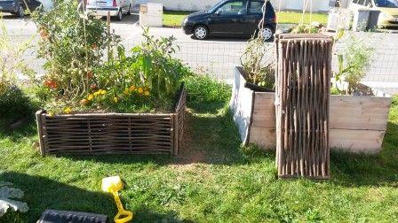 Nouveau potager au carré Jardiland (voir le blog pour plus d'infos). Carré plessis de noisetier.