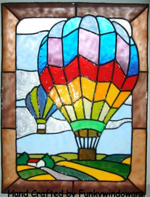 Hot air ballons style 2 static window clings hand painted hot air baloons window clings window art stained glass effects suncatchers decals stickers