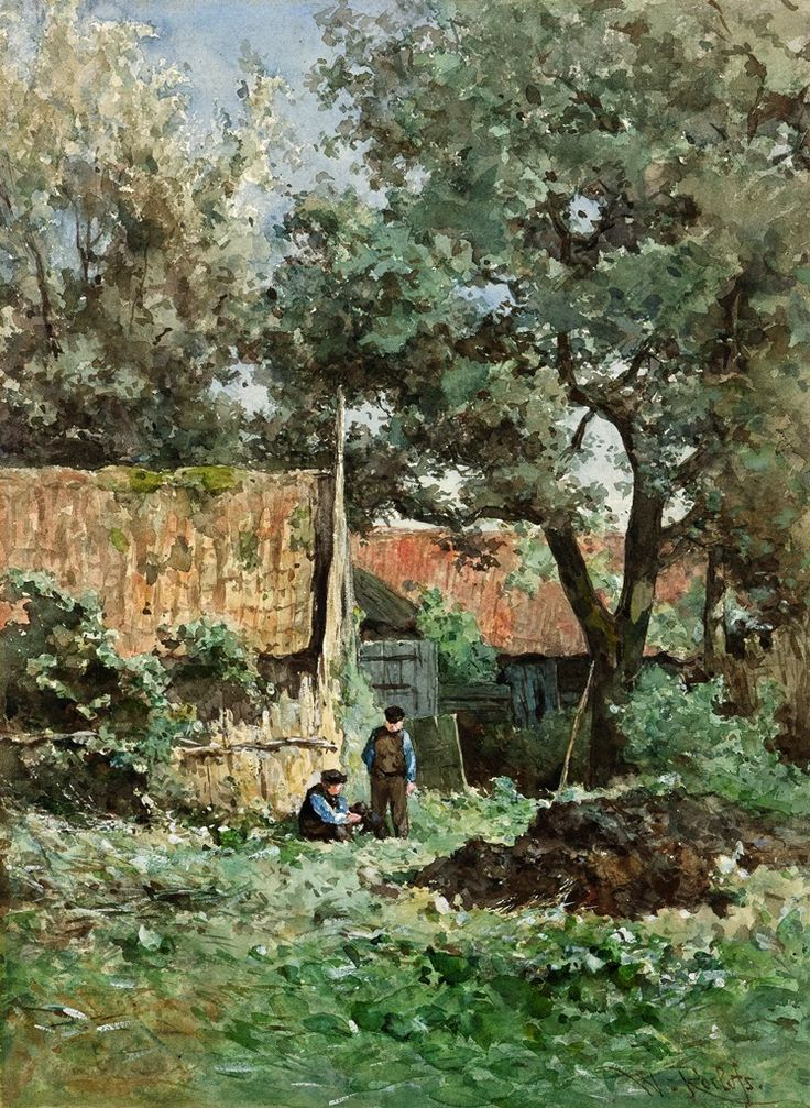 Willem Roelofs (1822-1897) Boomgaard achter boerenwoning, Noorden, 1881-1882 Aquarel, 43,7 x 32,4 cm. Collectie Groninger Museum, foto Marten de Leeuw