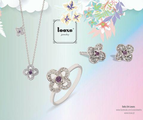 Jóias leves e alegres em clima de Verão!  Um bom outfit requer jóias Looxe!  Conjunto Violet  #looxe #verao #outfit #colar #ouro #joias #verão #brincos #violet #anel #moda #acessoriosdemoda