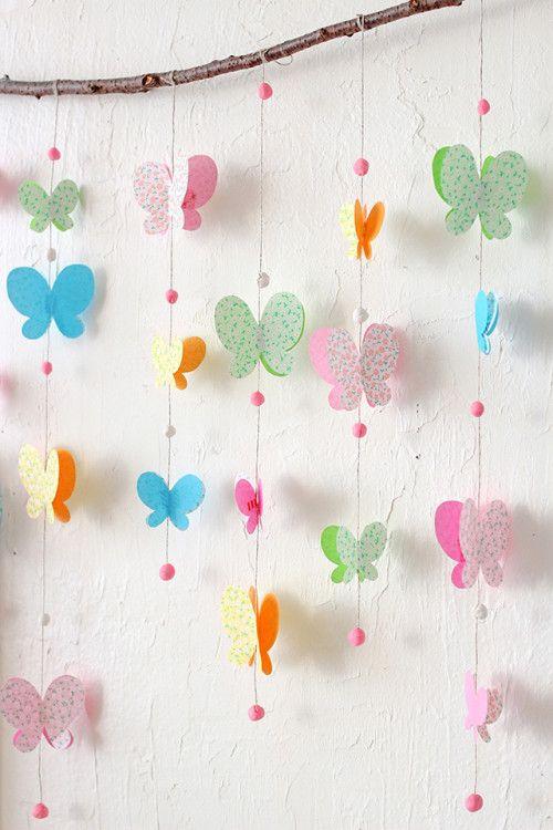 VillarteDesign Artesanato: Decoração de festa fácil de borboletas de papel passo a passo