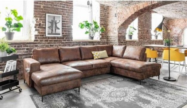 Bobochic Lilly Canape D Angle Panoramique Style Vintage Industriel Angle Droit Marron Vintage Couchesandsofa Couches And Sofa Home Furniture