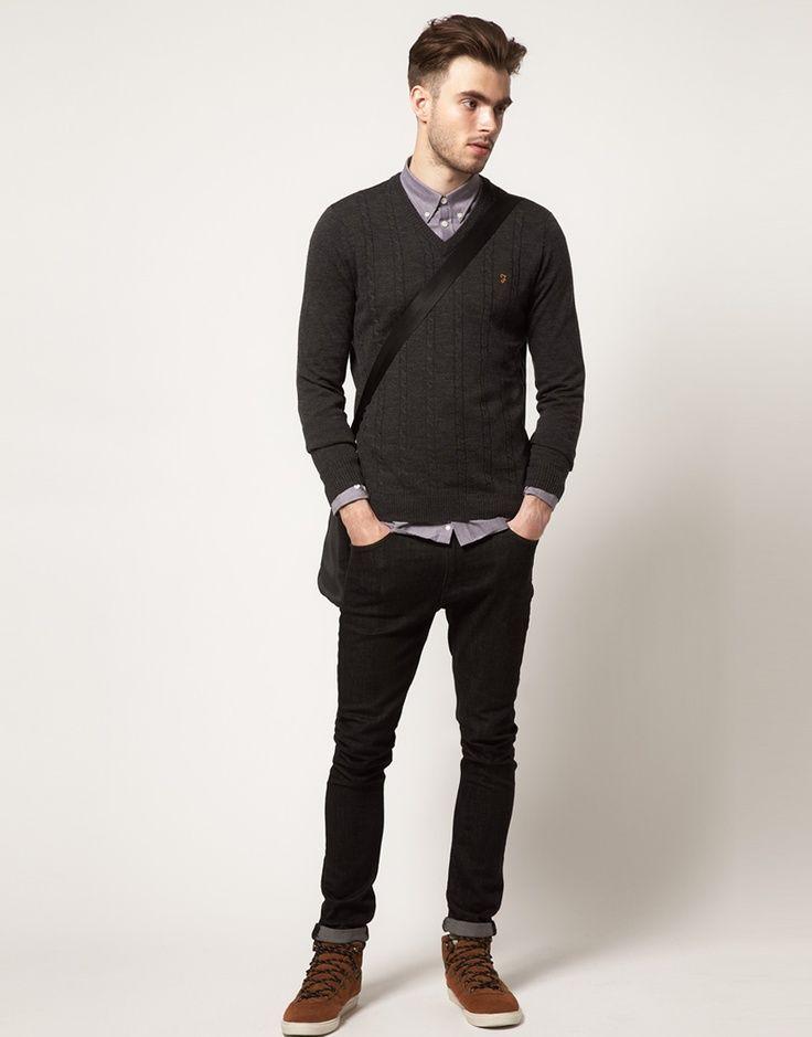 Suéter gola V com camisa fechada