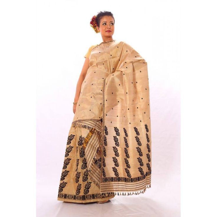 Assam 100% pure Pat Muga Silk with Black Motifs Mekhela Chadar