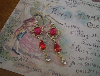 Vintage sparklers - featuring vintage Swarovski rhinestone jewel charms and Florentine ruby red charm