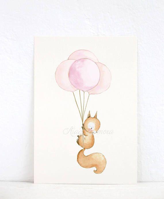 Eichhörnchen mit Luftballons Dekorfolie