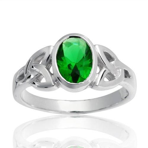 Bling Jewelry Sterling Silver Emerald Color Celtic Triquetra Ring
