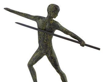 Javelin Athlete Olympic Games Ancient Greek MythologyHandmade Bronze Sculpture Ancient Greece Bronze Art Collectible Art