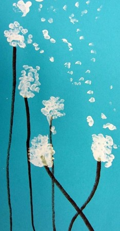 Fly-away dandelions- 2nd grade this is really cute! Good idea even for me to paint on my walls