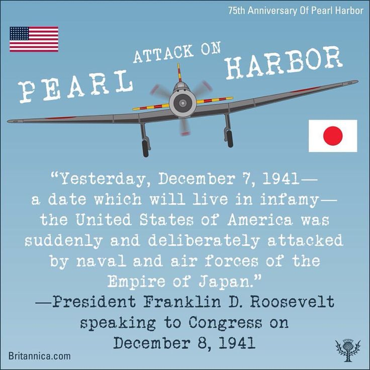 """#otd on December 7, 1941, the surprise attack on the US #naval base at #pearlharbor propelled the #unitedstates into #wwii. More than 2,300 US military personnel were killed, more than 1,100 wounded, and 8 #battleships were either damaged or destroyed. US President Franklin D. Roosevelt referred to the attack as the """"date which will live in infamy."""" To learn more, read #britannica's #spotlight on #pearlharbor75thanniversary: http://www.britannica.com/story/75th-anniversary-of-pearl-harbor…"""