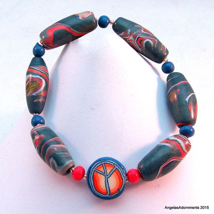 Blue Hippie Bracelet | Peace Bracelet | Blue Boho Bracelet | Bead Stretch Bracelet | Peace sign Hippie Bracelet | Blue Peace Bracelet by AngelasAdornments on Etsy