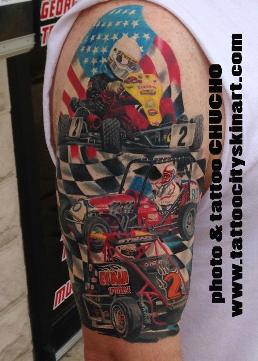 Nascar, Racecar, Go- Kart, American Flag, Checker Flag, Racing tattoo by Chucho. Tattoo City ...