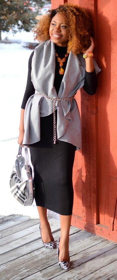 Alaska fashion blogger effortlessly mixes prints and neutrals. Black bodycon midi dress + grey lapel vest with sequin glitter leopard pumps