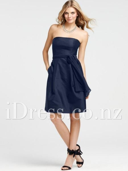 strapless navy blue bridesmaid dress with self-tie sash from idress.co.nz