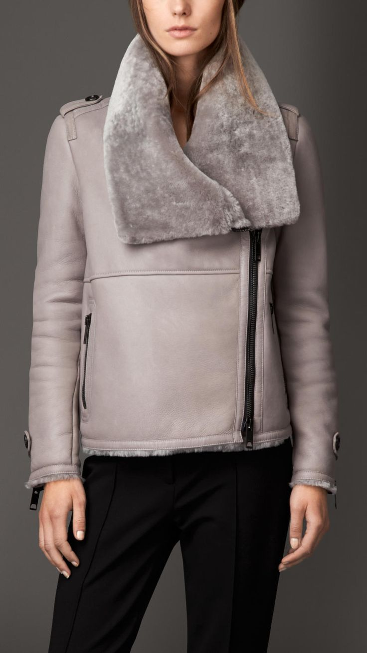 Shearling Aviator Jacket with Oversize Collar | Burberry