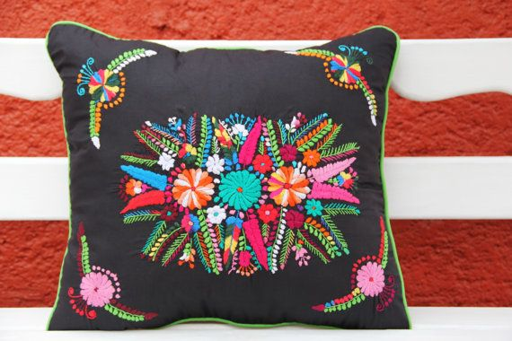 Black and Multi colored Puebla Collection  Sham by CasaOtomi,       Mexico, Tenango, mexican wedding, textile, mexican suzani, suzani, embroidery, hand embroidered, otomi, www.casaotomi.com, otomi, table runner, fiber art, mexican, handmade, original, authetic, textile , mexico casa, mexican decor, mexican interior, frida, kahlo, mexican folk,  folk art, mexican house, mexican home, puebla collection, las flores, travel tote, boho, tote, handbag, purse, cushion, pillow