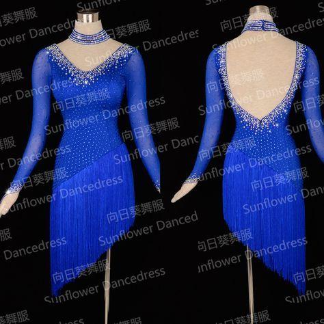 Chaud-Vente Latine Dress! Nouvelle Concurrence fringe Latin dance dress, salsa dress, salle de bal dress, filles danse latine samba, bleu royal