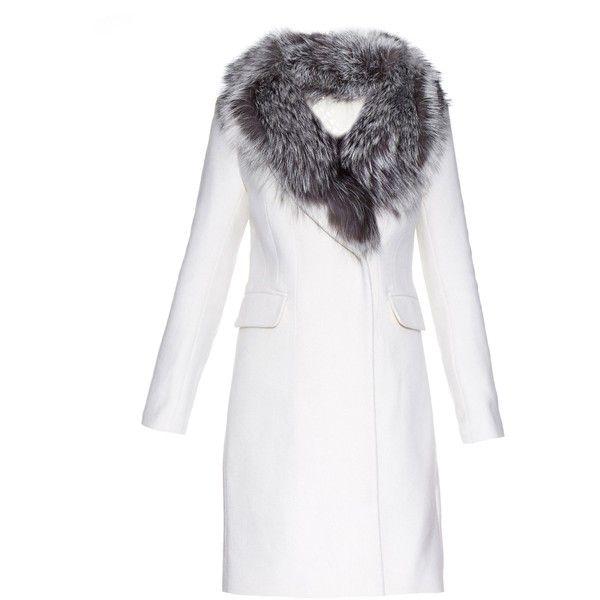 Diane Von Furstenberg Hepburn coat found on Polyvore featuring outerwear, coats, jackets, ivory, diane von furstenberg, white double breasted coat, shawl collar coat, white winter coat and ivory coat
