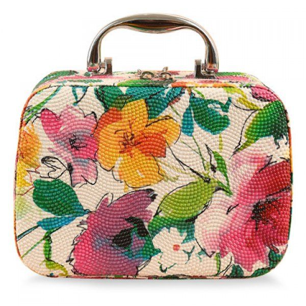 Sweet Floral Print and PU Leather Design Women's Cosmetic Bag