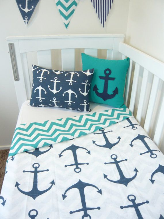 White with navy anchor cot quilt Choose your own by MamaAndCub