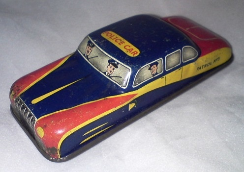 Vintage Tinplate Toys Police Patrol Car GTP 577, possibly made by Mettoy in England in the 1950's! £5.00