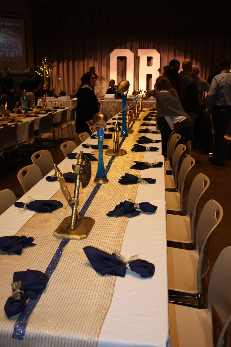 Best 20 football banquet ideas on pinterest senior for Athletic banquet decoration ideas