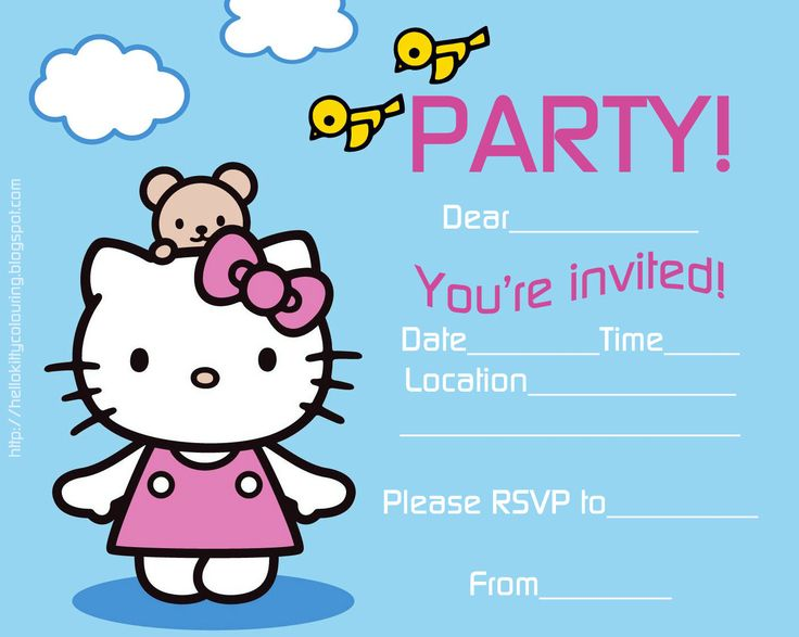 Free printable fill in the blanks template style Hello Kitty party invitations - print however many copies you need for the number of guests you are inviting - then fill in the blanks with the details of your own party like time, date, venue and RSVP details.