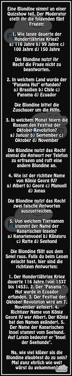 Blondine beim Quiz - Witze des Tages 10.11.2015   Funcloud